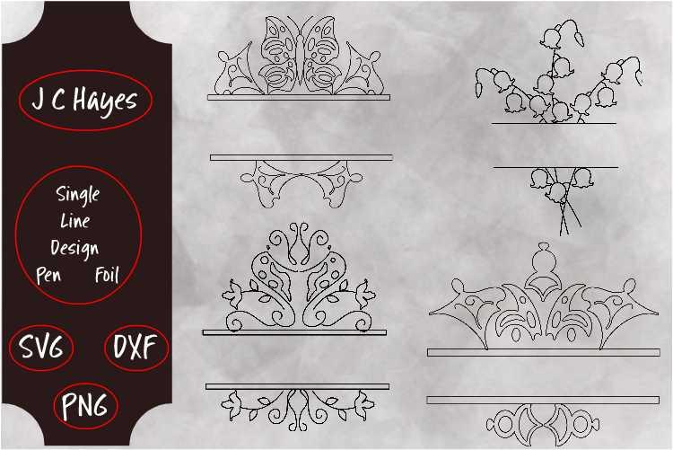 Monogram Frames. Single Line. SVG, PNG, DXF example image 1
