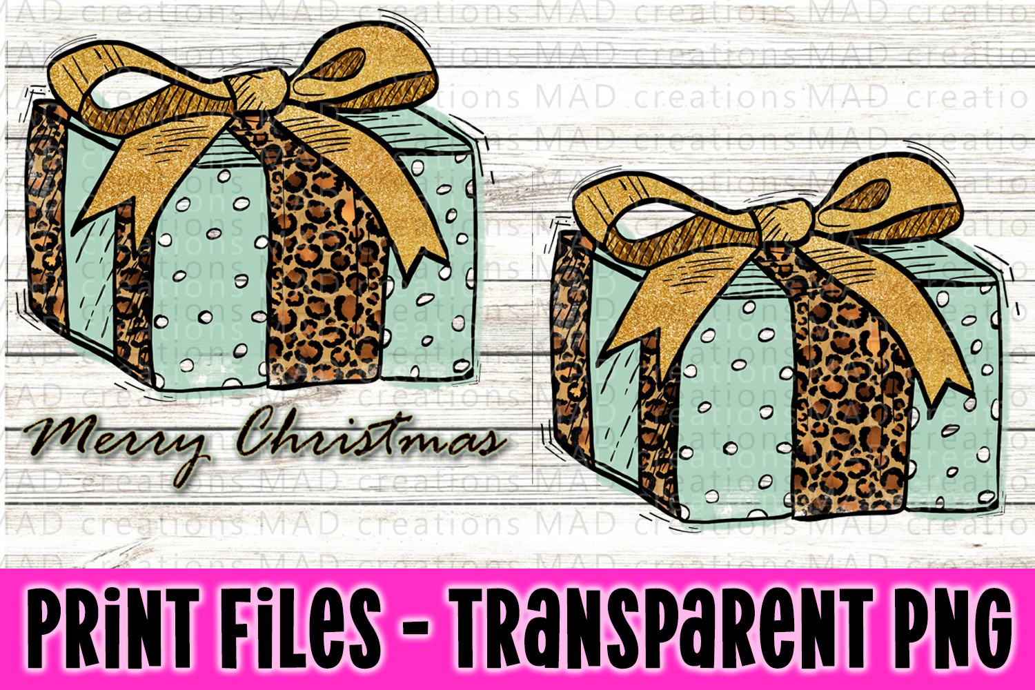 Christmas Present - Leopard Print and Teal - Print File example image 1