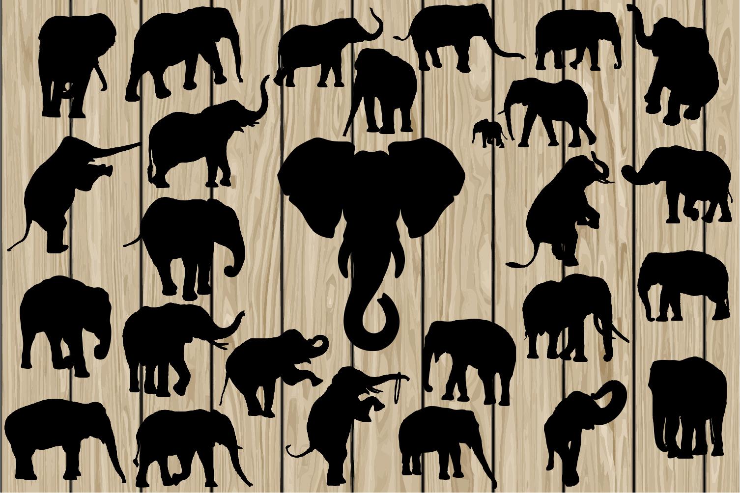 26 Elephant SVG, Elephant EPS, Elephant Vector, Elephant Silhouette Clipart, Elephant DXF, Elephant Png, Elephant Cutting File, Printable. example image 1