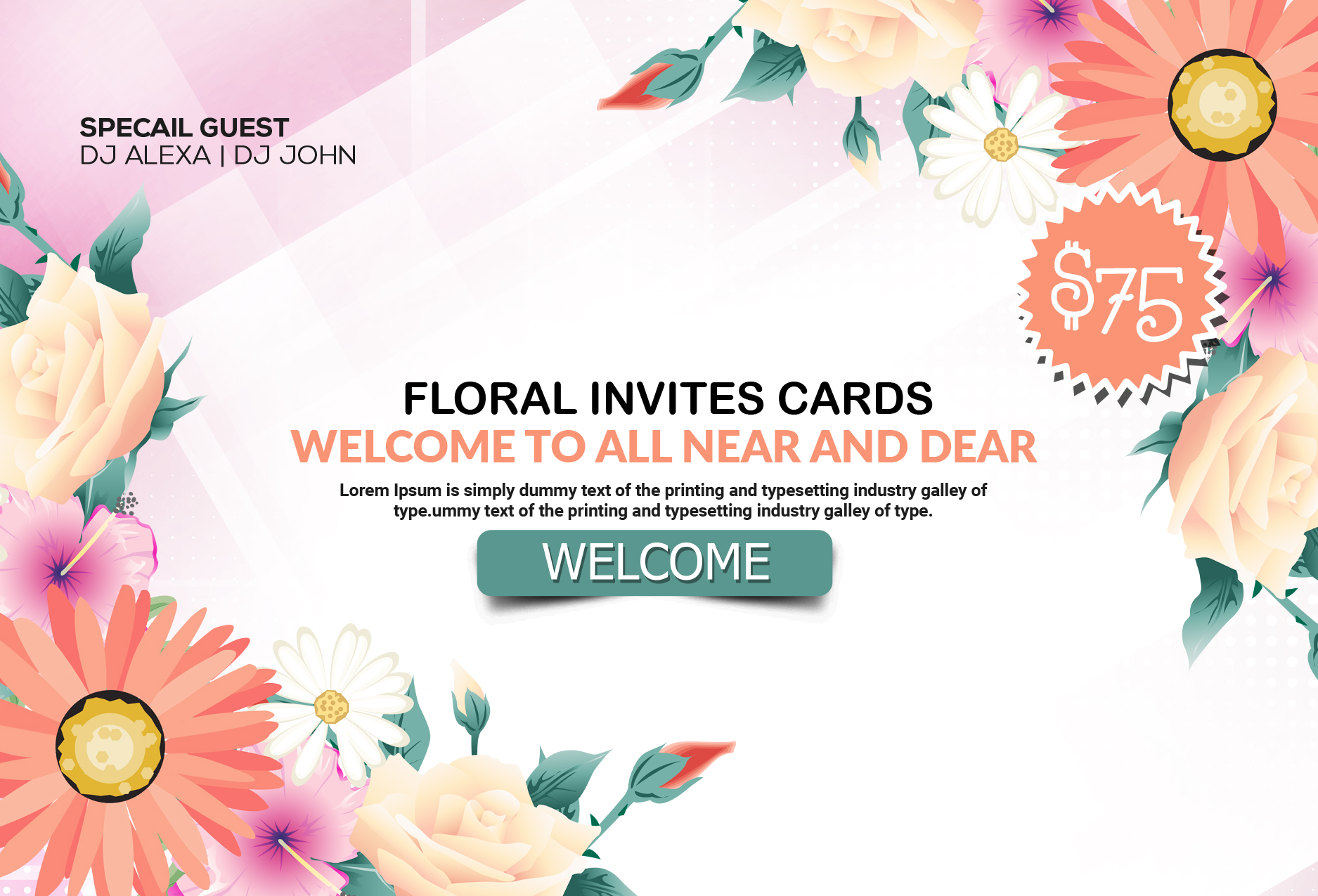 Floral Invitation Card Template example image 2