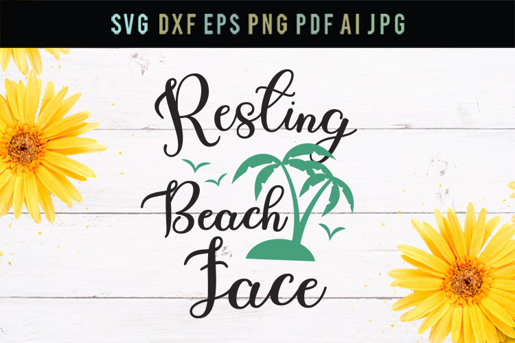 Resting Beach Face, funny svg, cut file, dxf, eps, svg example image 1