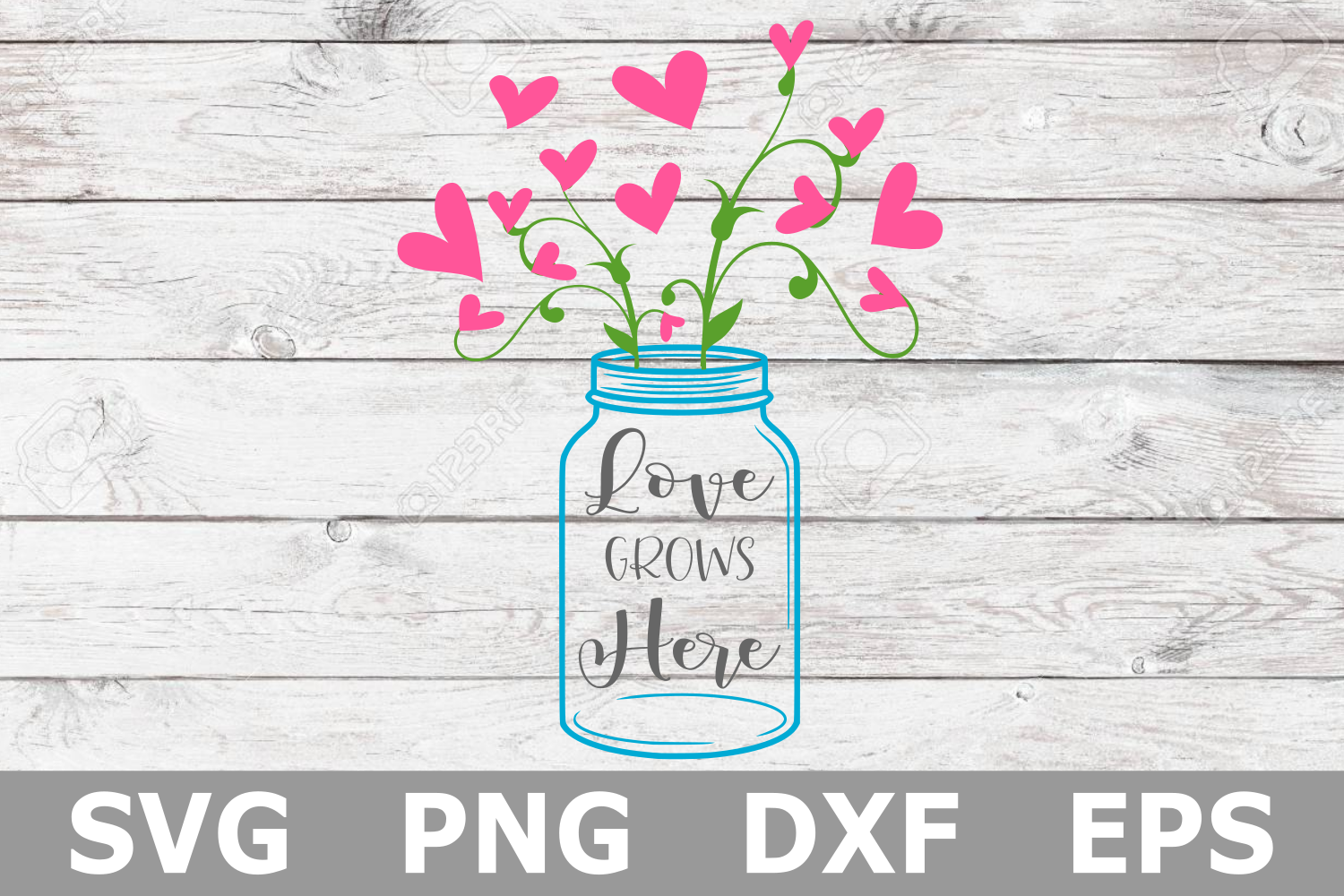 Love Grows Here - A Family SVG Cut File example image 2