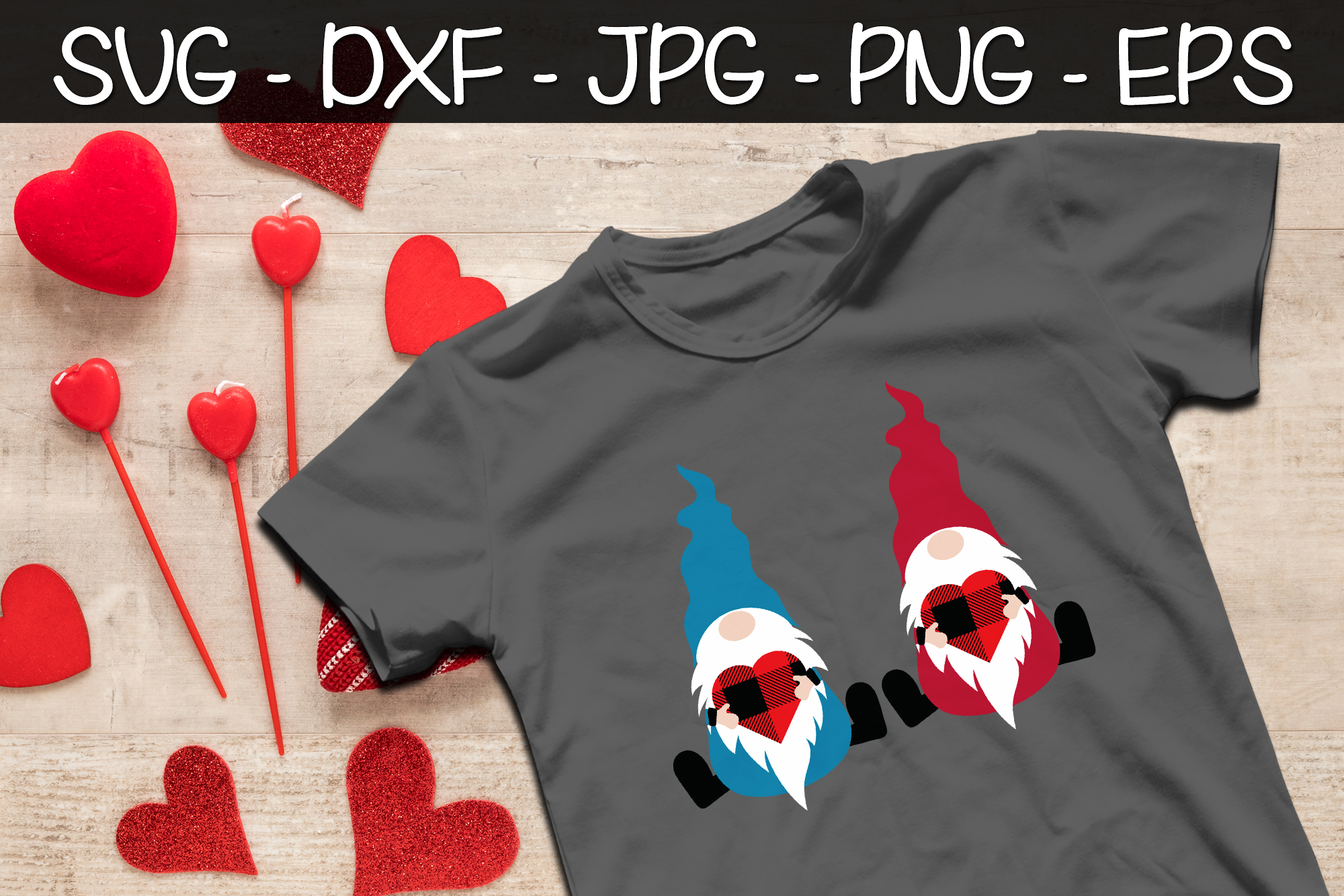 Valentine Gnomes Buffalo Plaid SVG Valentine's Day Gnomes example image 2
