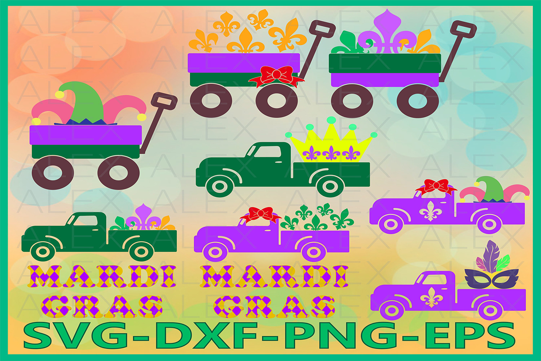 Mardi Gras SVG, Truck Mardi Gras svg, Fleur De Lis Svg example image 1
