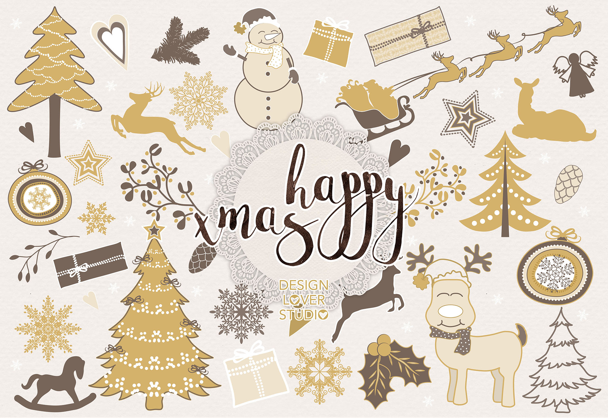 Vector Gold christmas digital clip arts example image 1