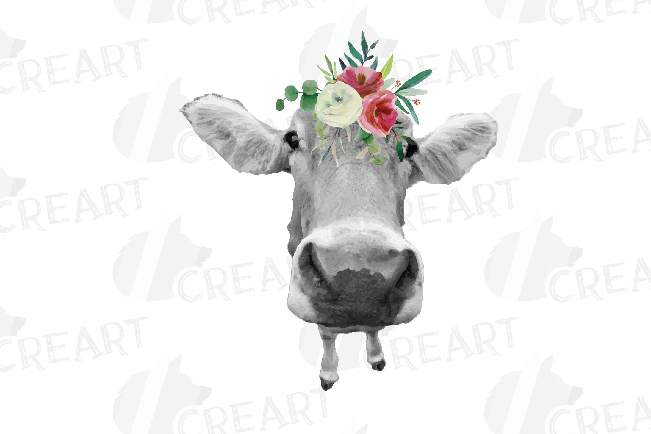 Not today Heifer printable shirt, mug, card floral cow png example image 10
