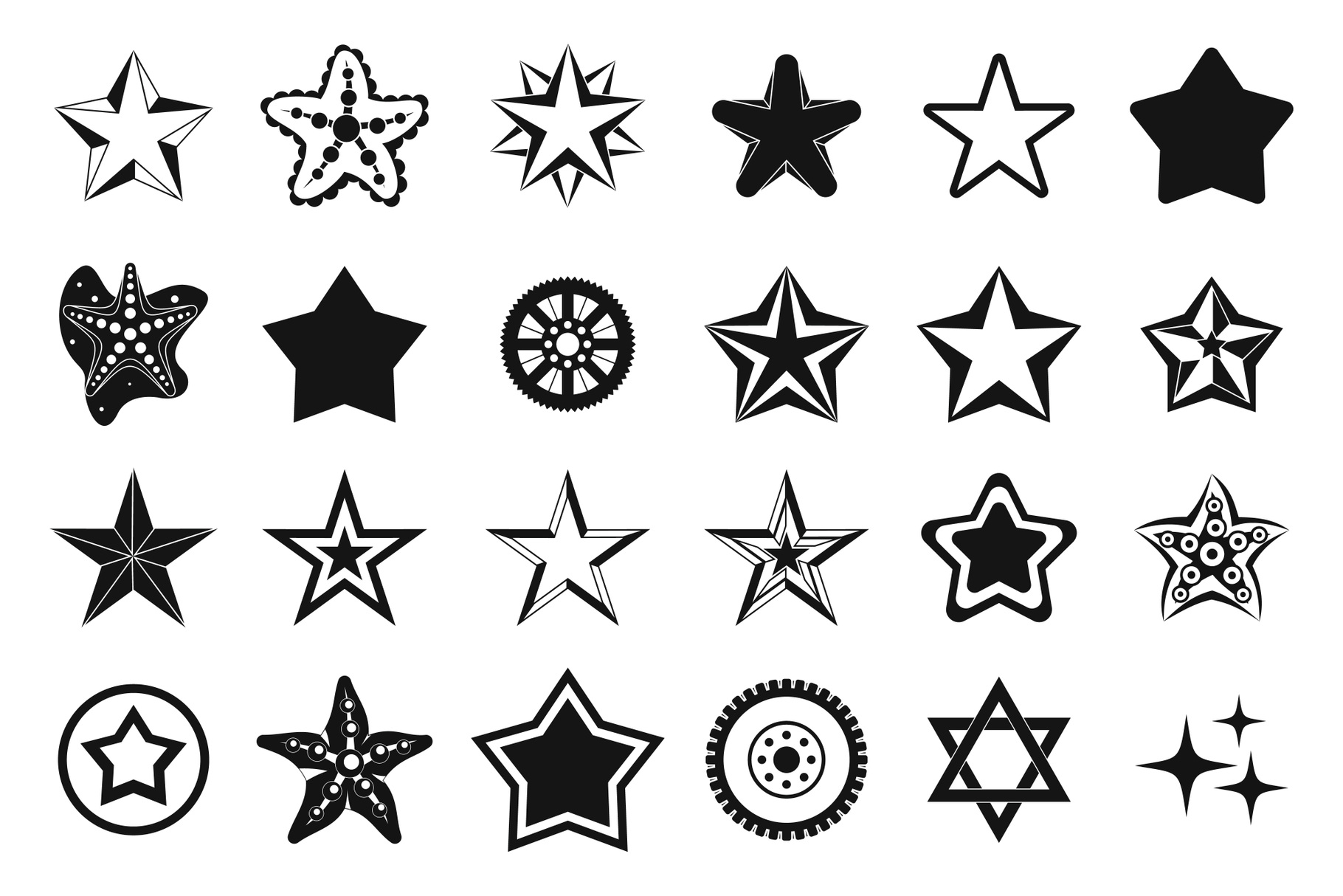 Stars icon set, simple style example image 1
