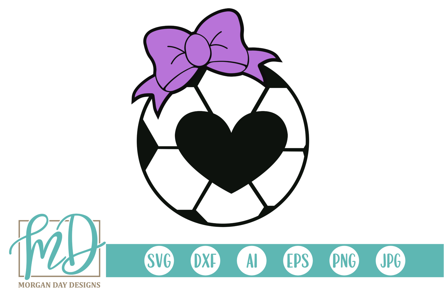 Soccer Heart with Bow SVG, DXF, AI, EPS, PNG, JPEG example image 1