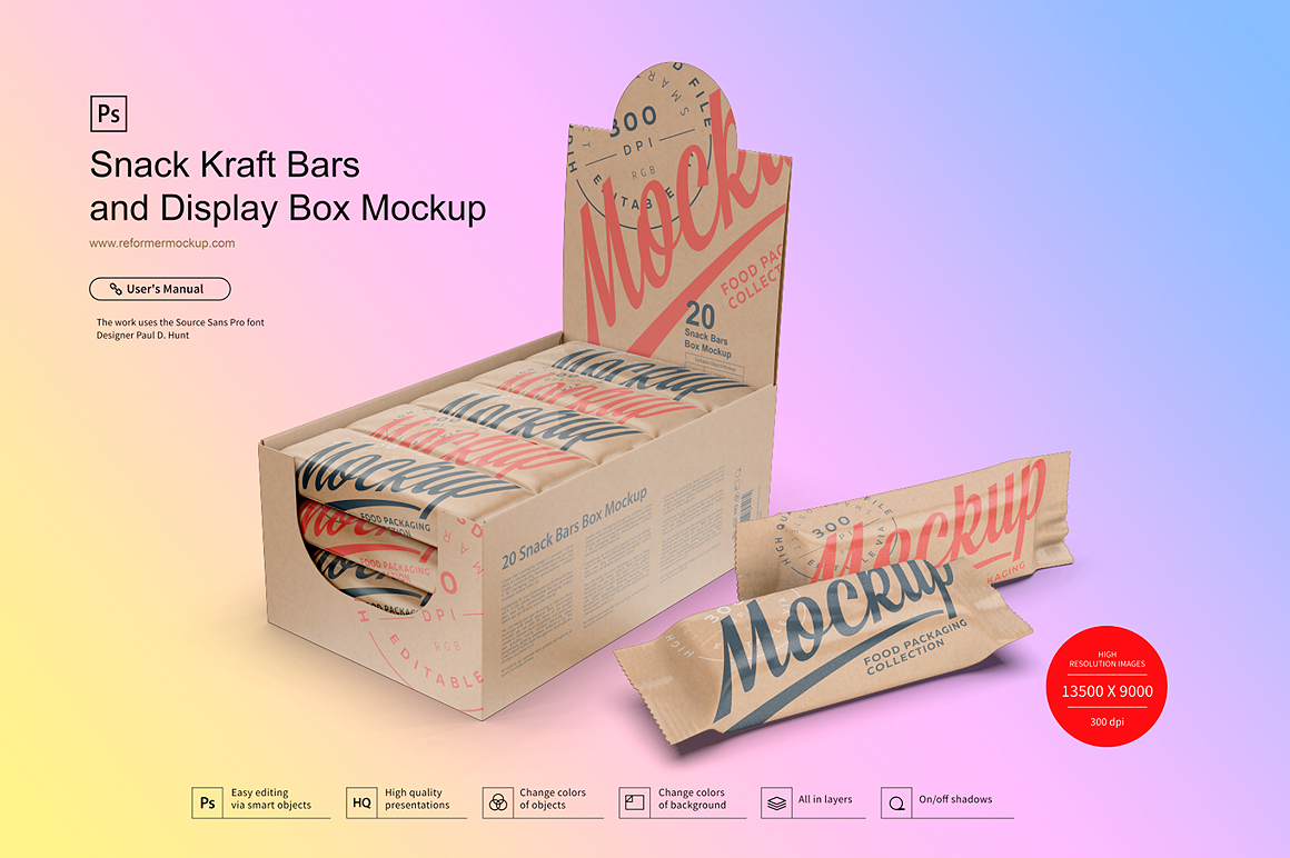 Kraft Snack Bars and Display Box Mockup example image 4