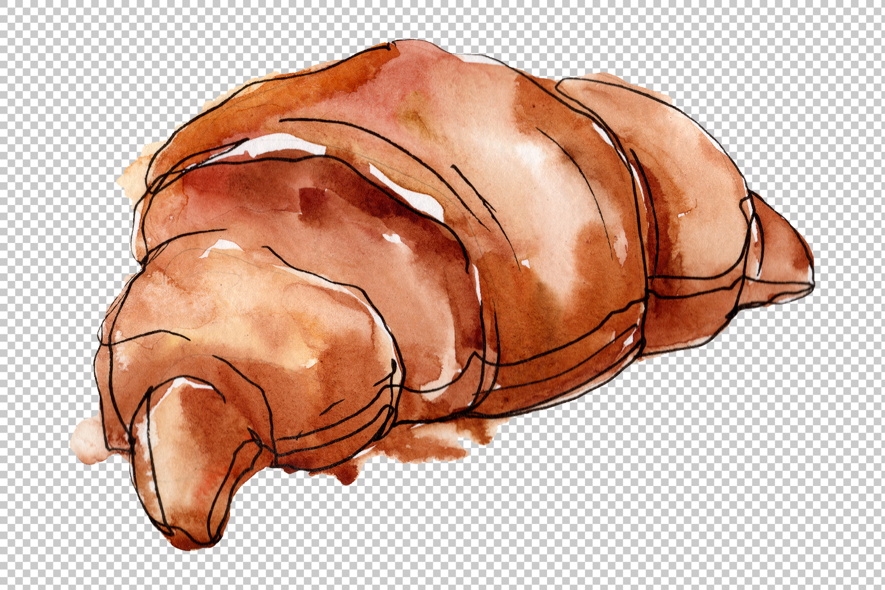 Dessert Cake with Chocolate and Croissant Watercolor png example image 3