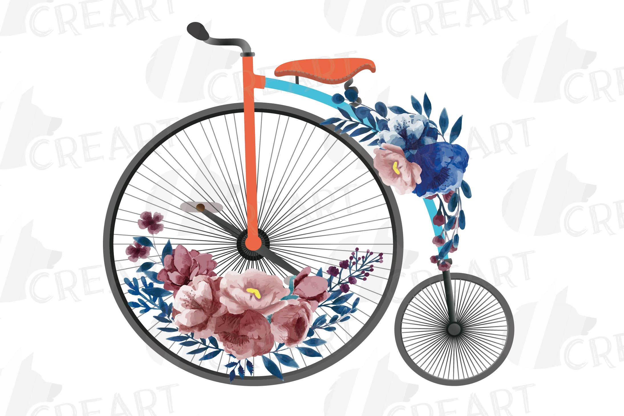 Navy blue and blush floral high wheelers clip art pack example image 9