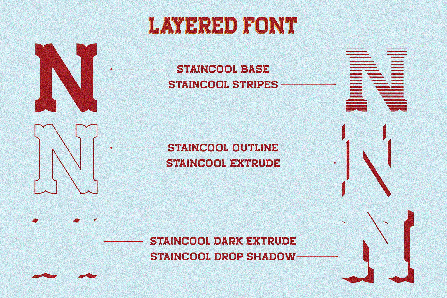 Staincool Layered Font example image 2