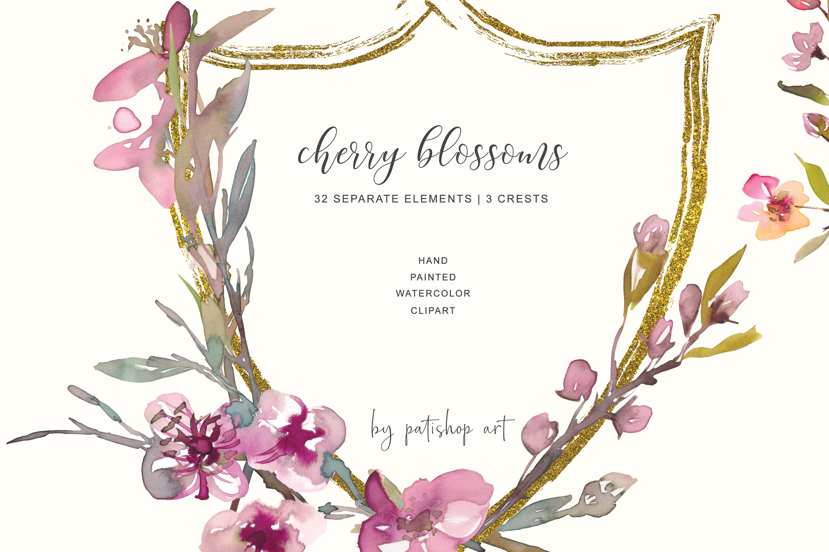 Hand Painted Watercolor Cherry Blossoms Clipart example image 2