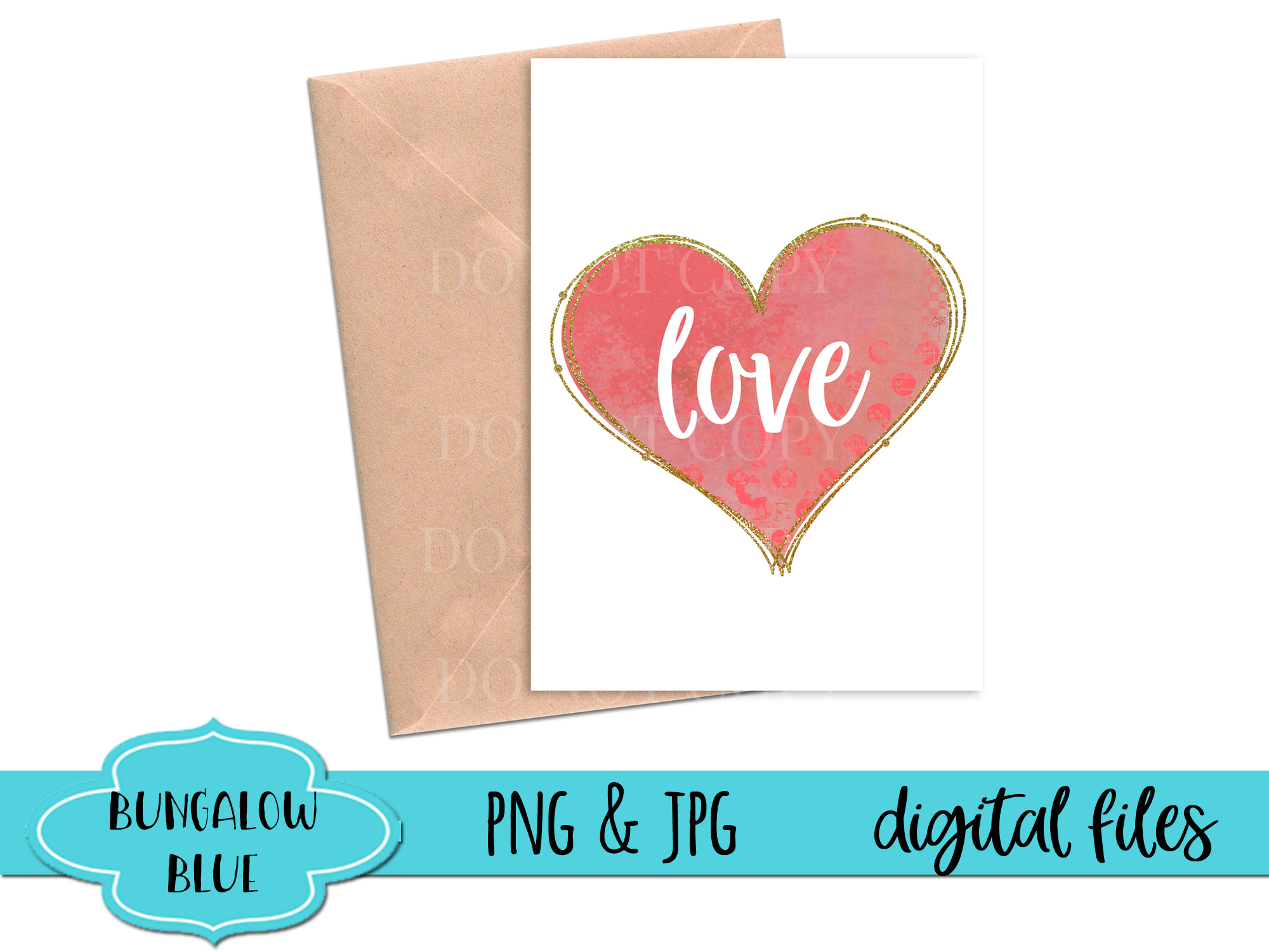 Love Pink Glitter Frame Heart Digital Download example image 2