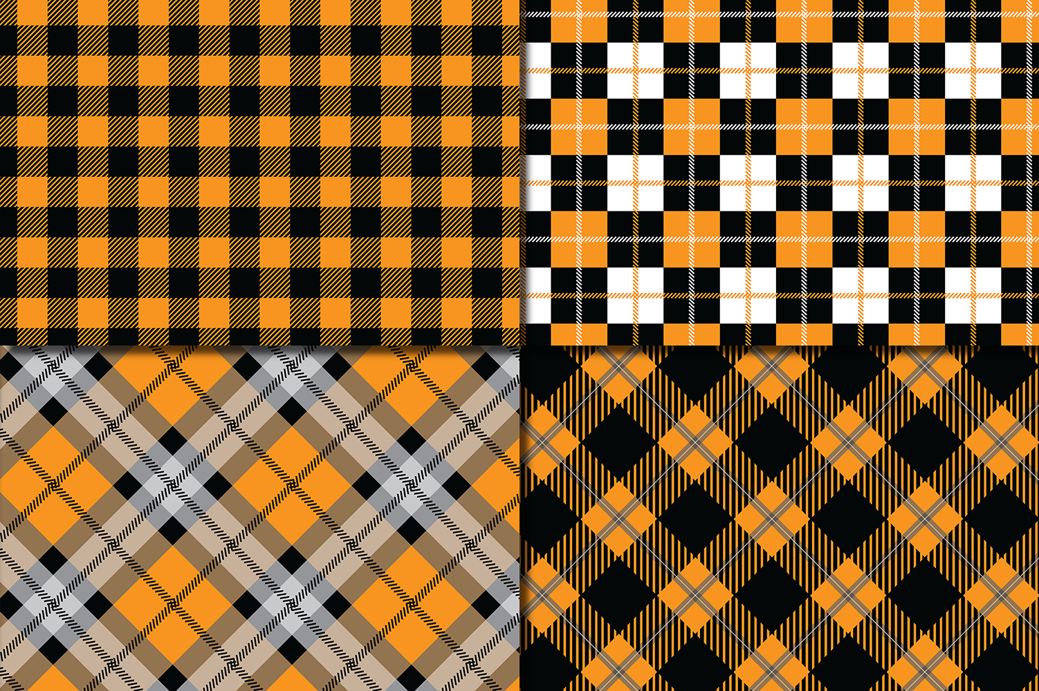Orange and Black Plaid Digital Papers / backgrounds example image 2