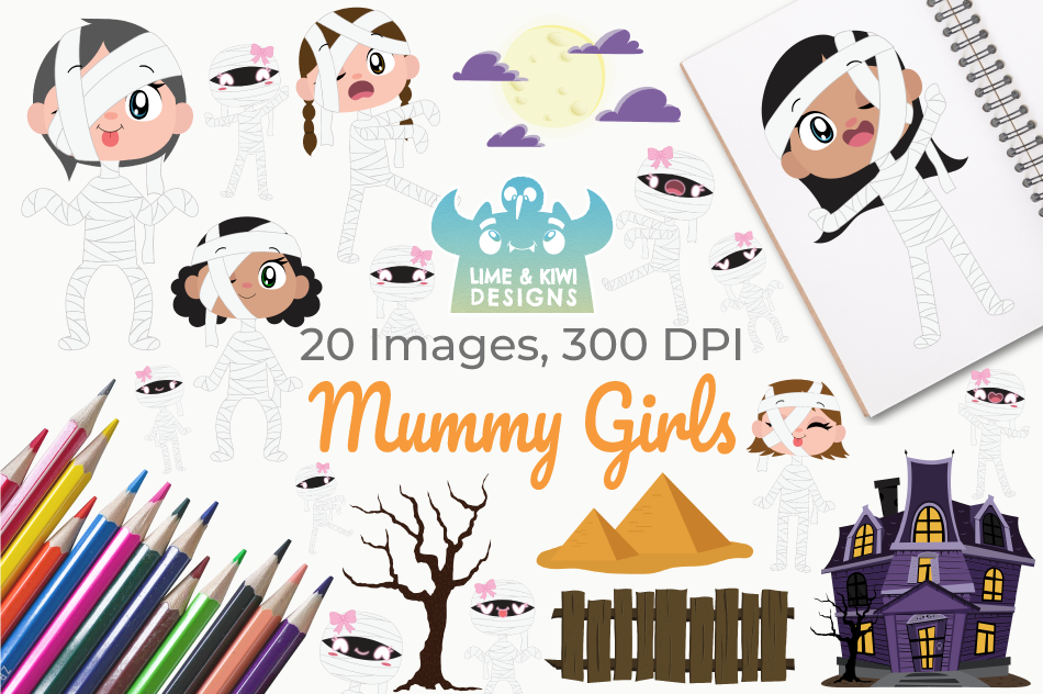 Mummy Girls Clipart, Instant Download Vector Art example image 1