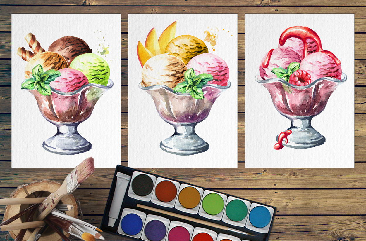 Ice cream. Watercolor collection example image 6