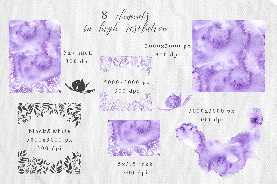 Gentle purple Watercolor Spring Wedding Invitation suite example image 4