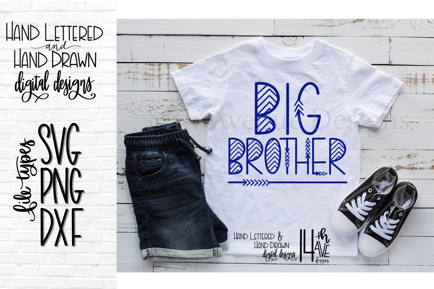 Big Brother SVG, Hand Lettered, Big Brother example image 1