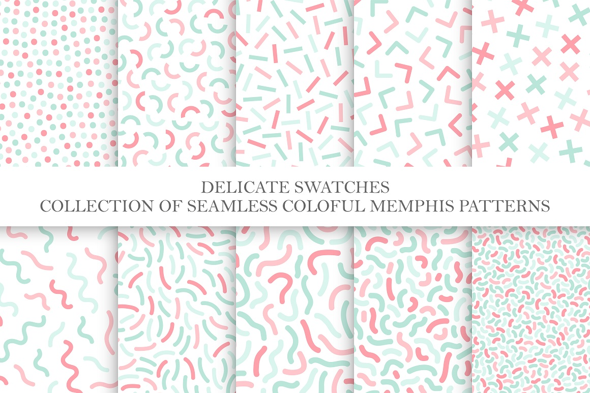 Delicate seamless color patterns set example image 5