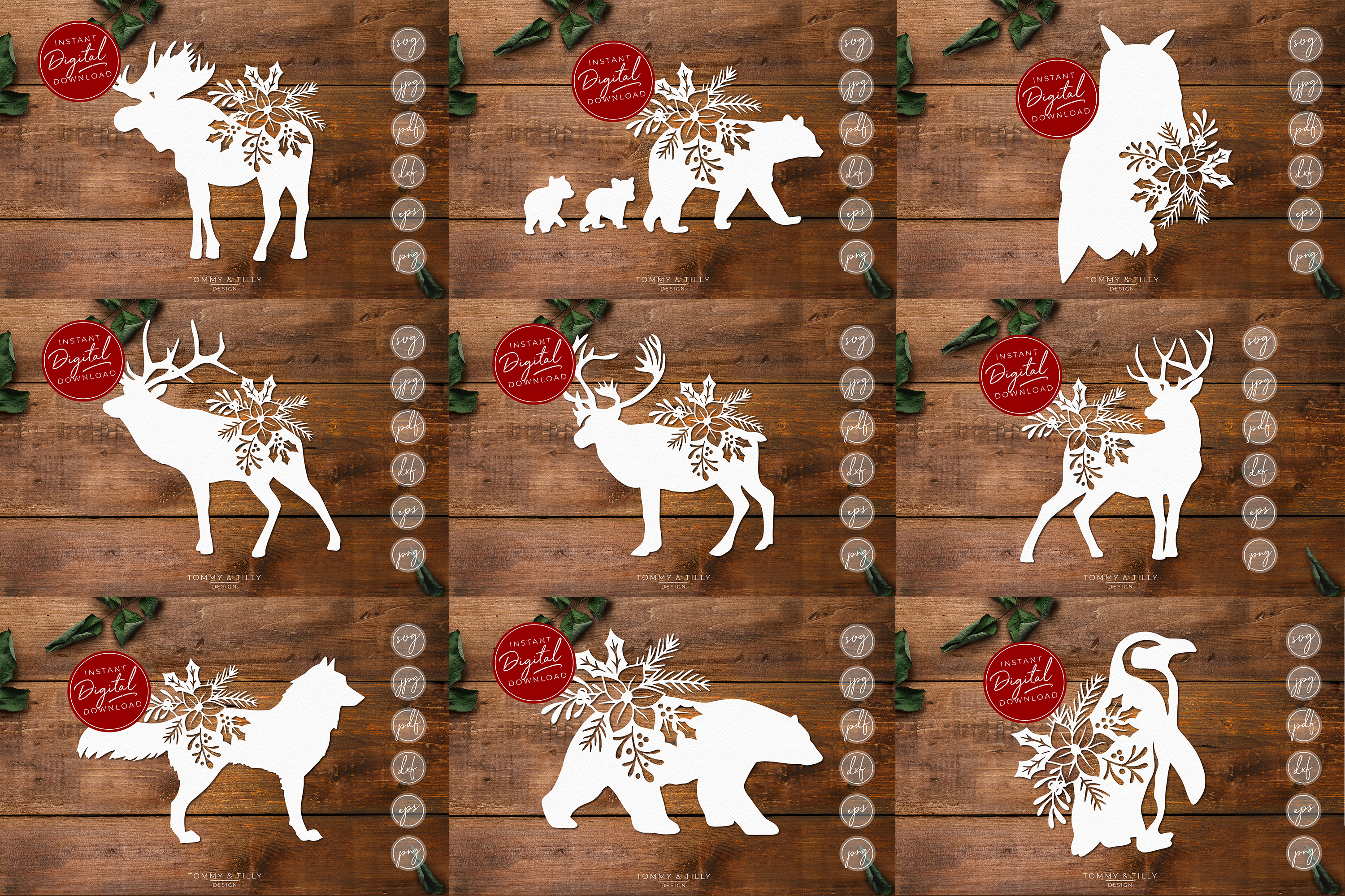 MEGA BUNDLE! 60 Christmas Cut Files - SVG | Papercut example image 2
