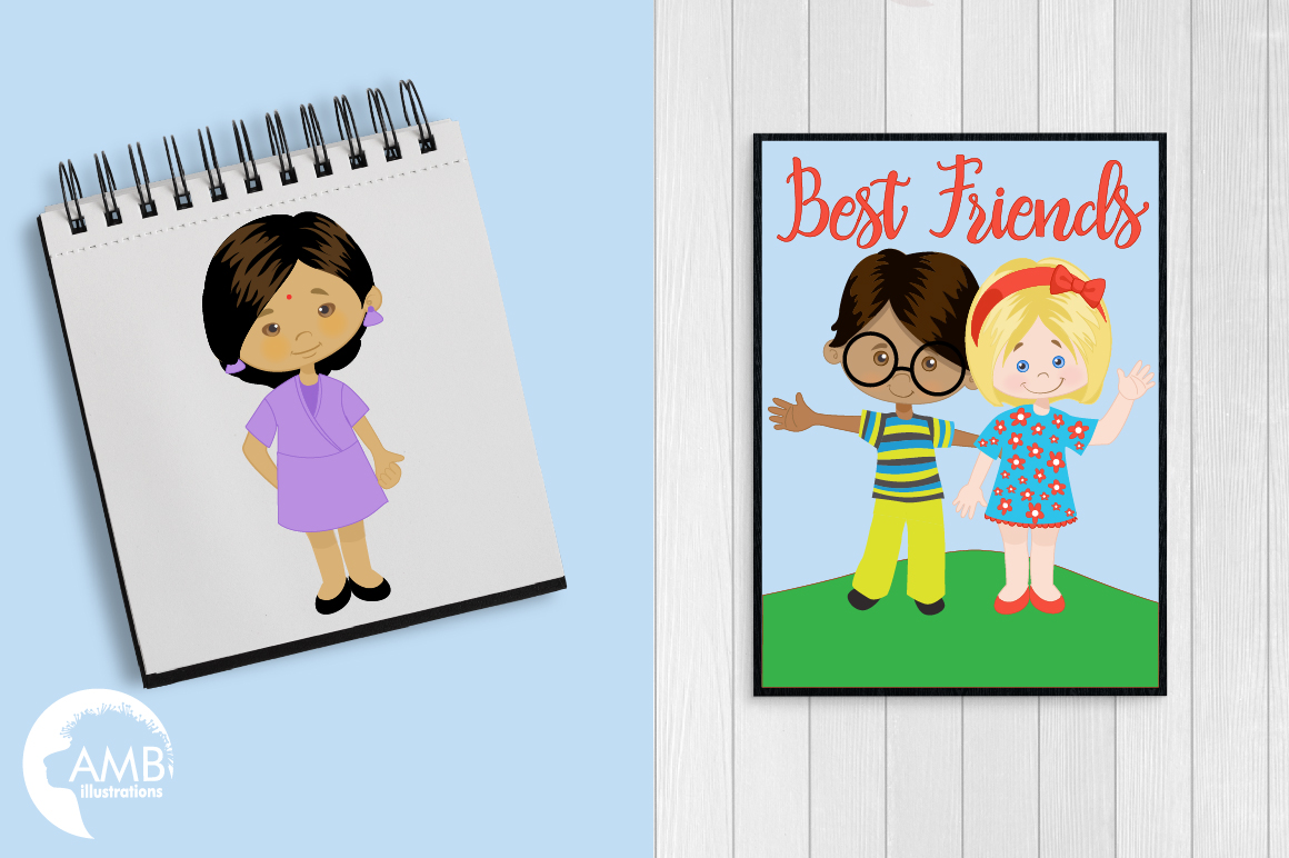 Multi-cultural kids series 1, clipart, graphics and illustrations AMB-2317 example image 4