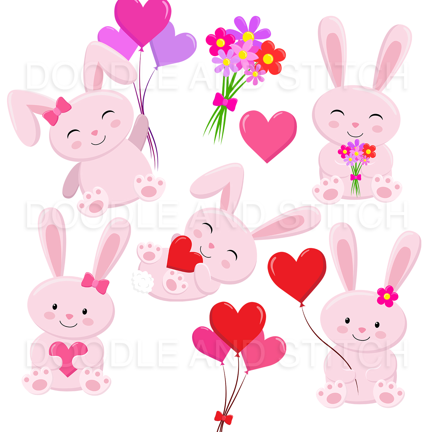Love Bunny Clipart Illustrations example image 3