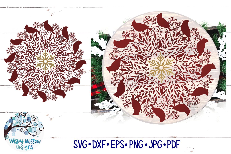Winter Cardinal Mandala SVG   Christmas Mandala SVG Cut File example image 1