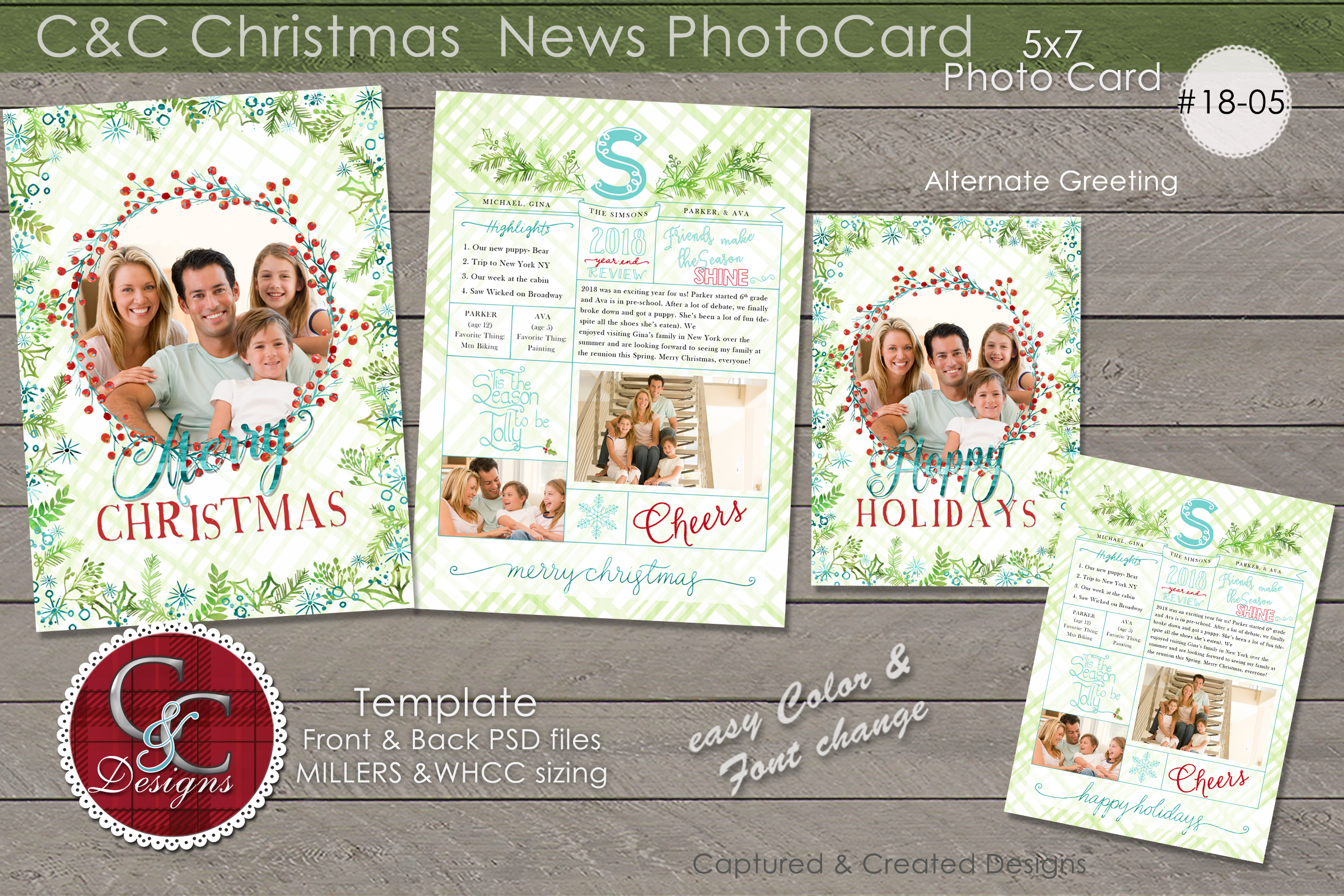 Christmas Year End Review Photo Card With Monogram 18-05 example image 1
