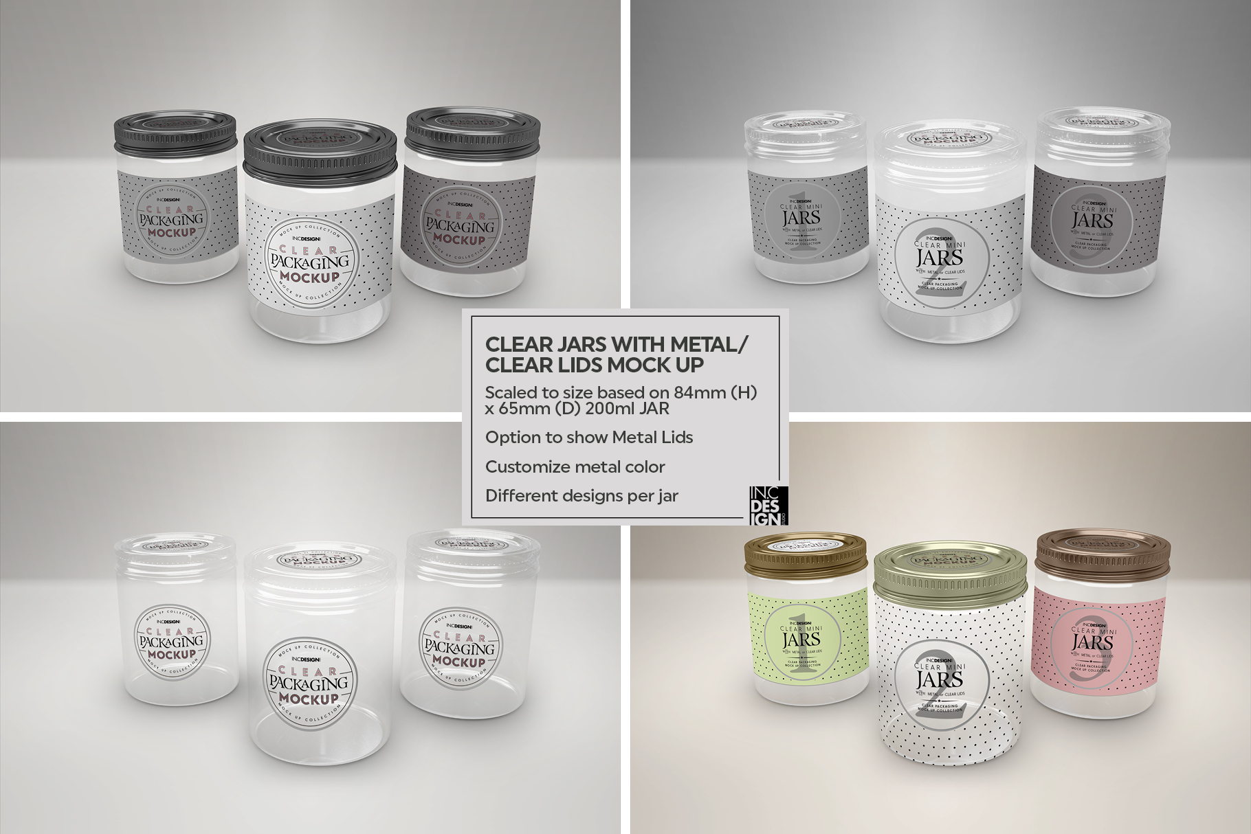 Clear Jars with Metal /Clear Lids Mockup example image 5