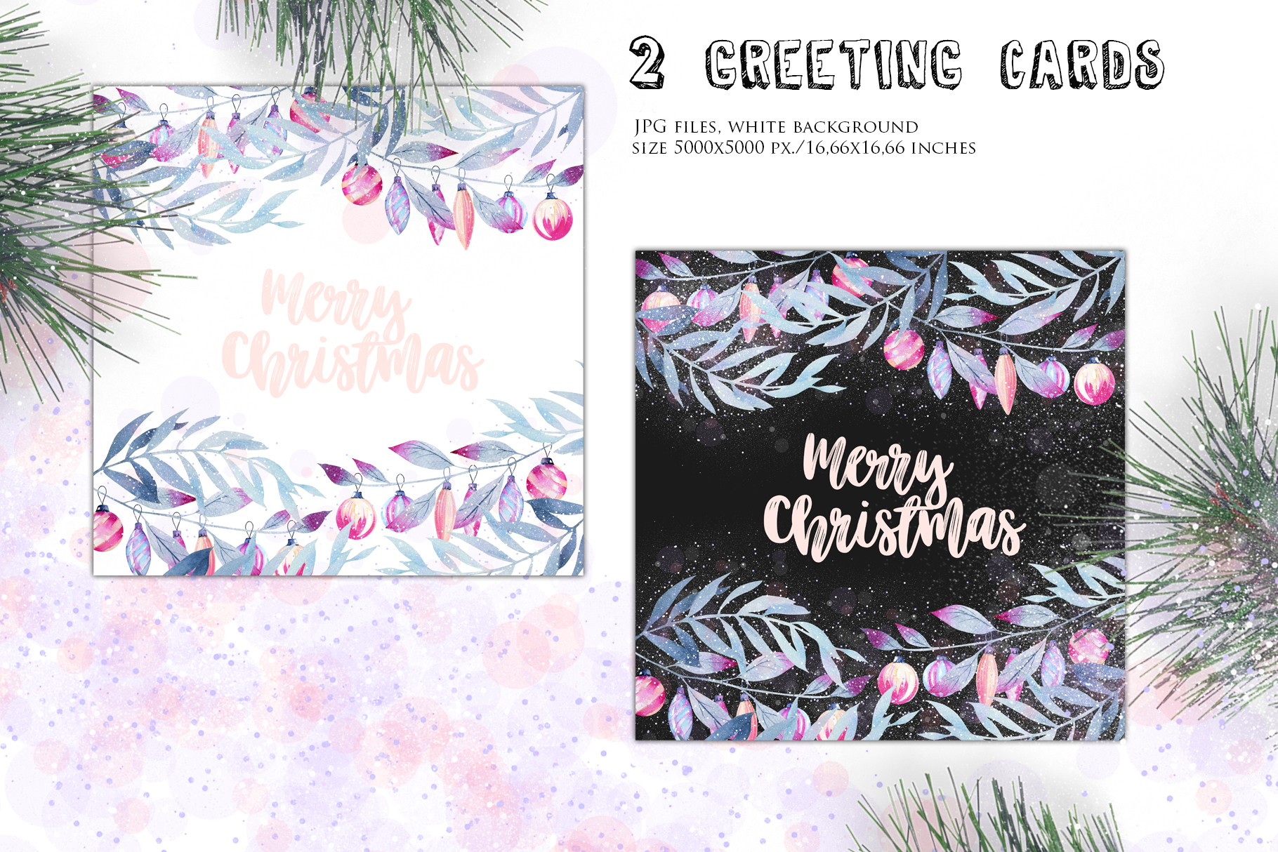 Let it snow. Watercolor Christmas clipart. example image 12