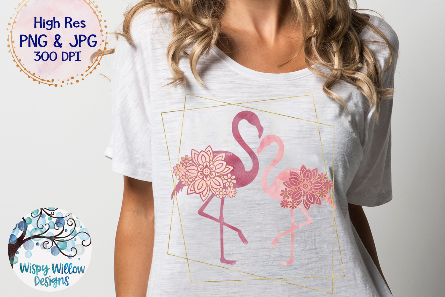 Watercolor Floral Flamingo with Gold Frame PNG | Sublimation example image 2