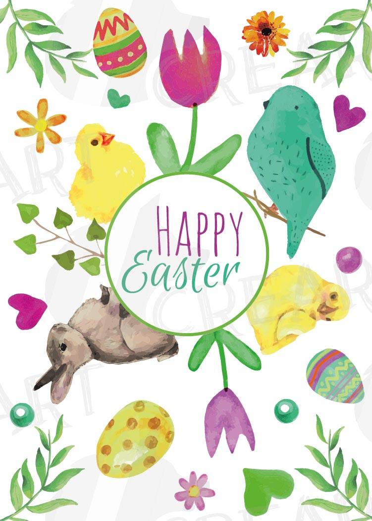 Easter greeting cards, 6 Happy Easter cards, colorful cards example image 9