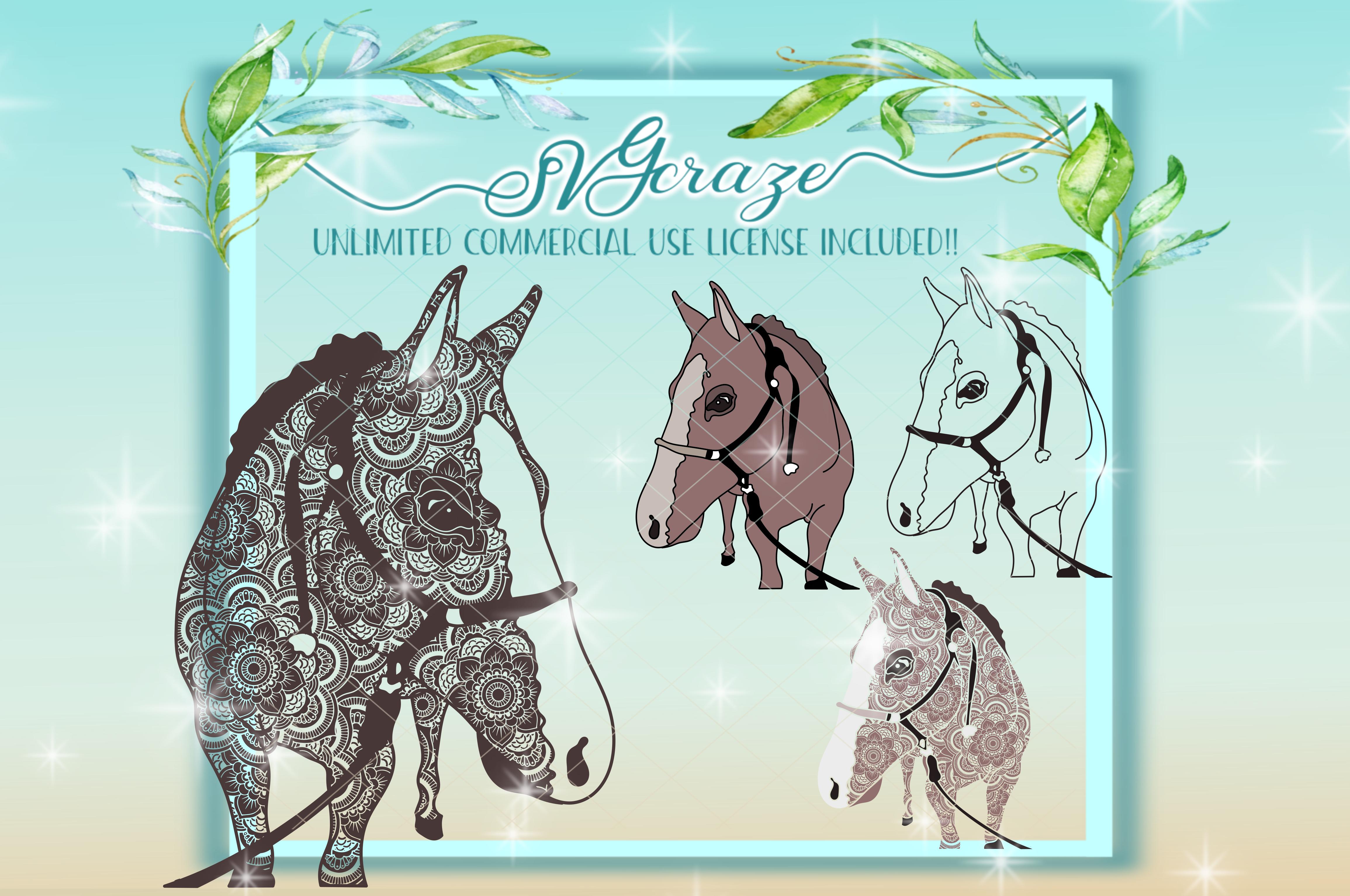 Horse Mandala Zentangle Svg Dxf Files For Cricut example image 1