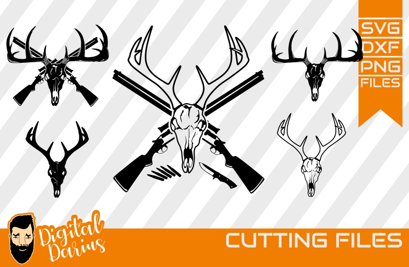 5x Deer Hunt SVG, Deer Head Svg, deer horns dxf, Circuit example image 1