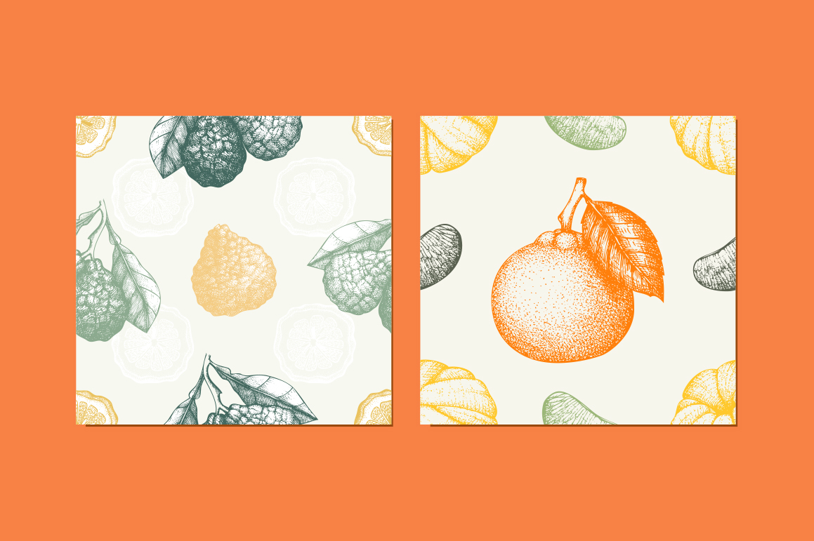 6 Seamless Citrus Fruits Pattern example image 3