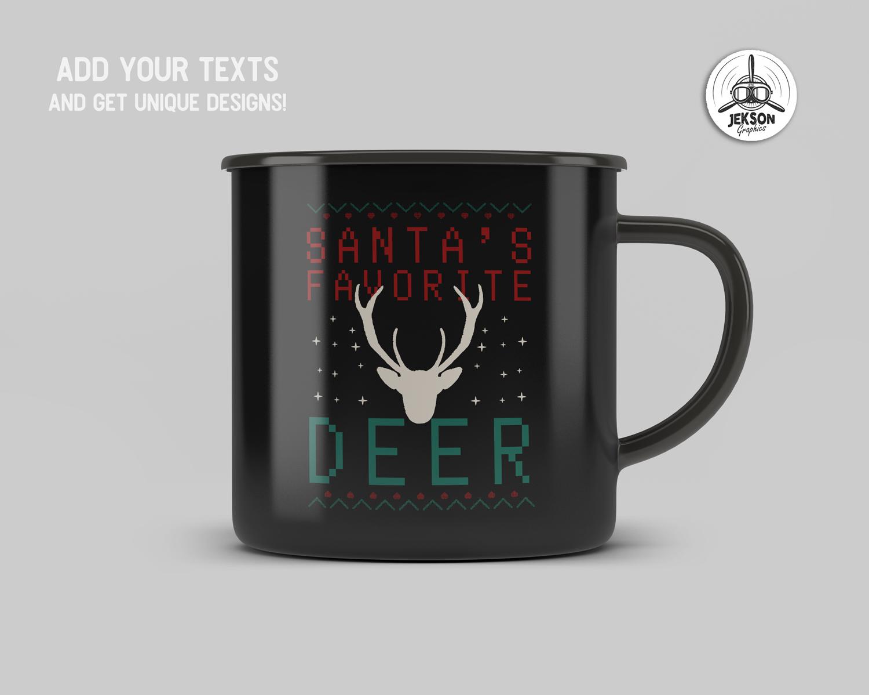 Santa Favorite Deer, Christmas Print TShirt Design SVG File example image 3