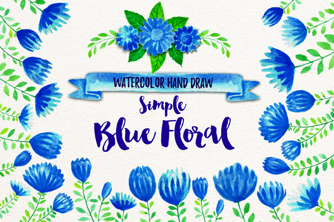 Simple Blue Floral example image 13