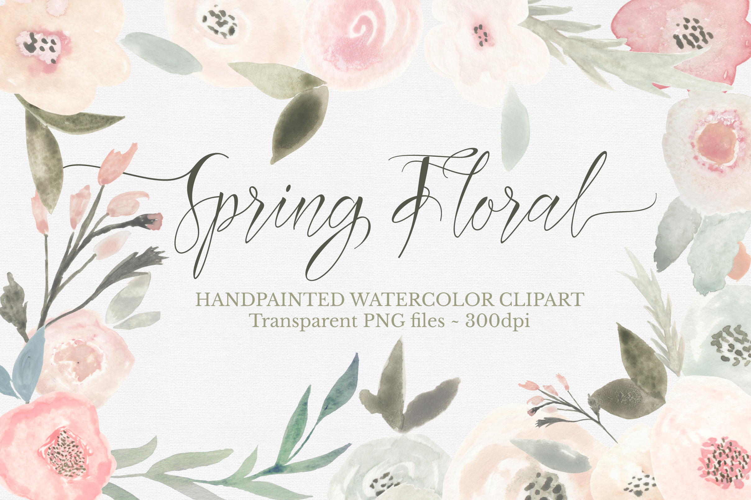 Spring Floral Watercolor Clipart Set example image 1