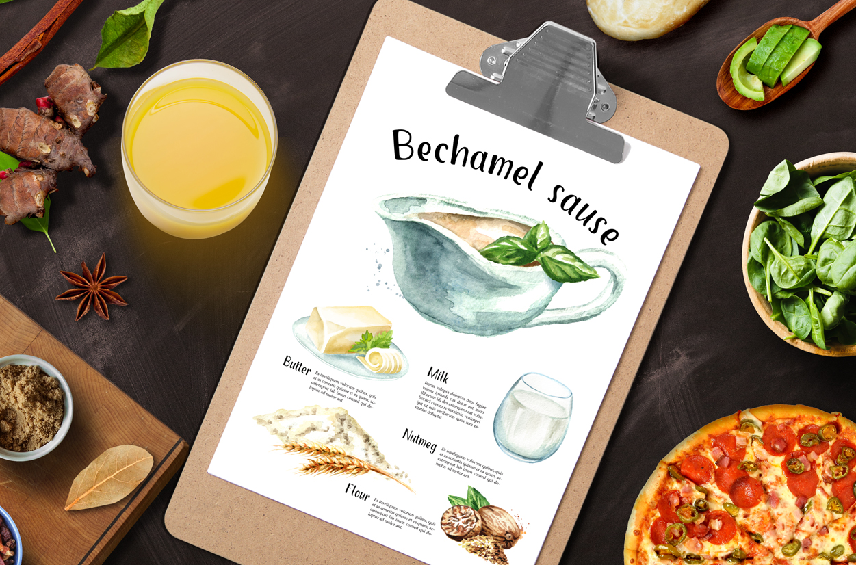 Bechamel sauce Watercolor example image 5