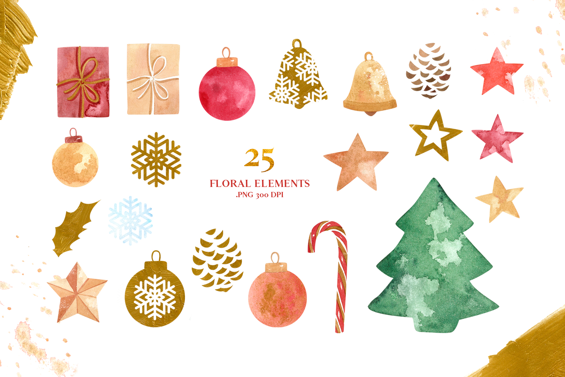 Merry Christmas Watercolor Design Set example image 5