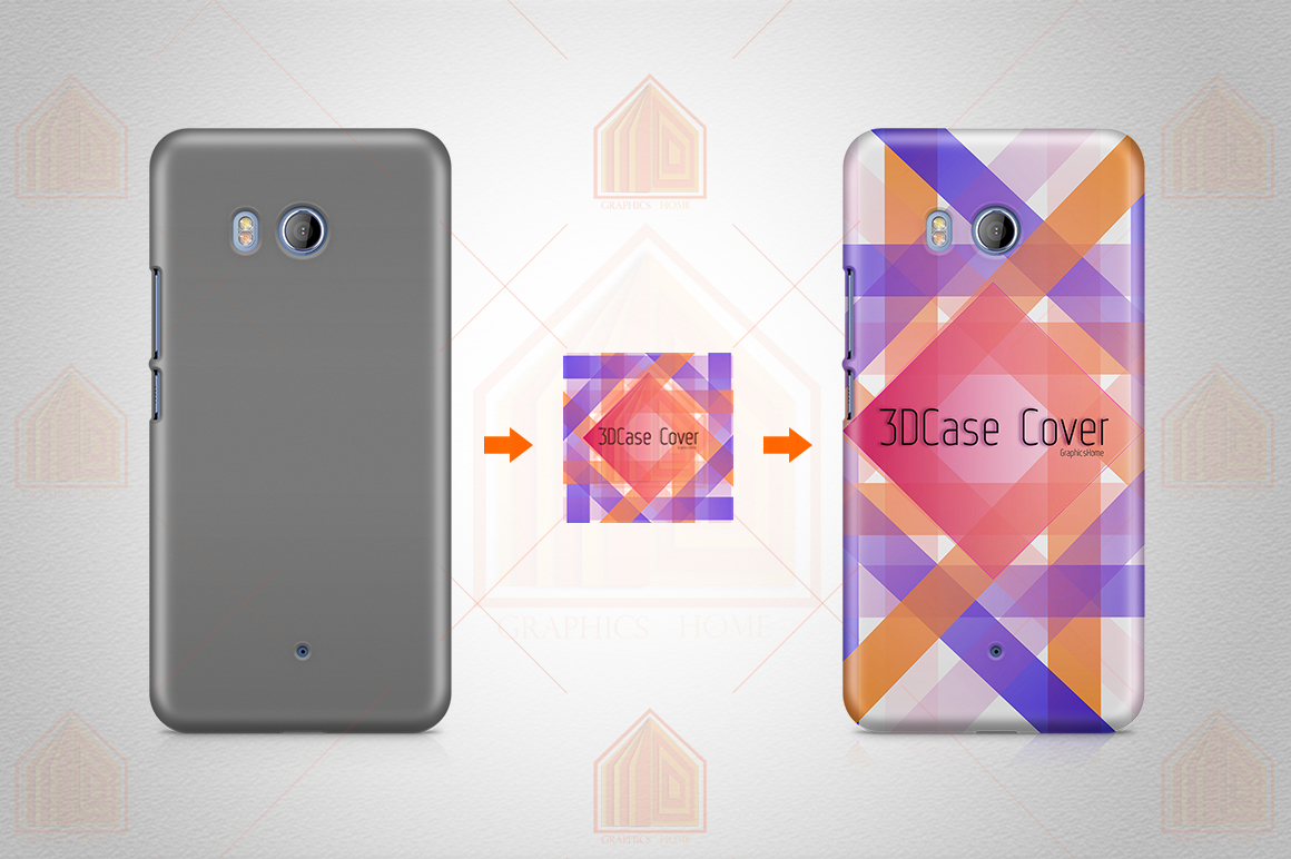 HTC U11 3dCase Design Mockup Back View example image 2