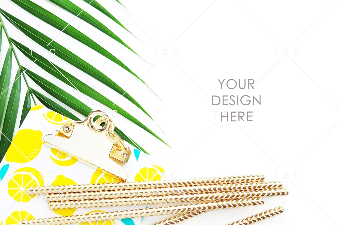 Lemon Paper Clipboard and Palm Leaf Stock Photo example image 1