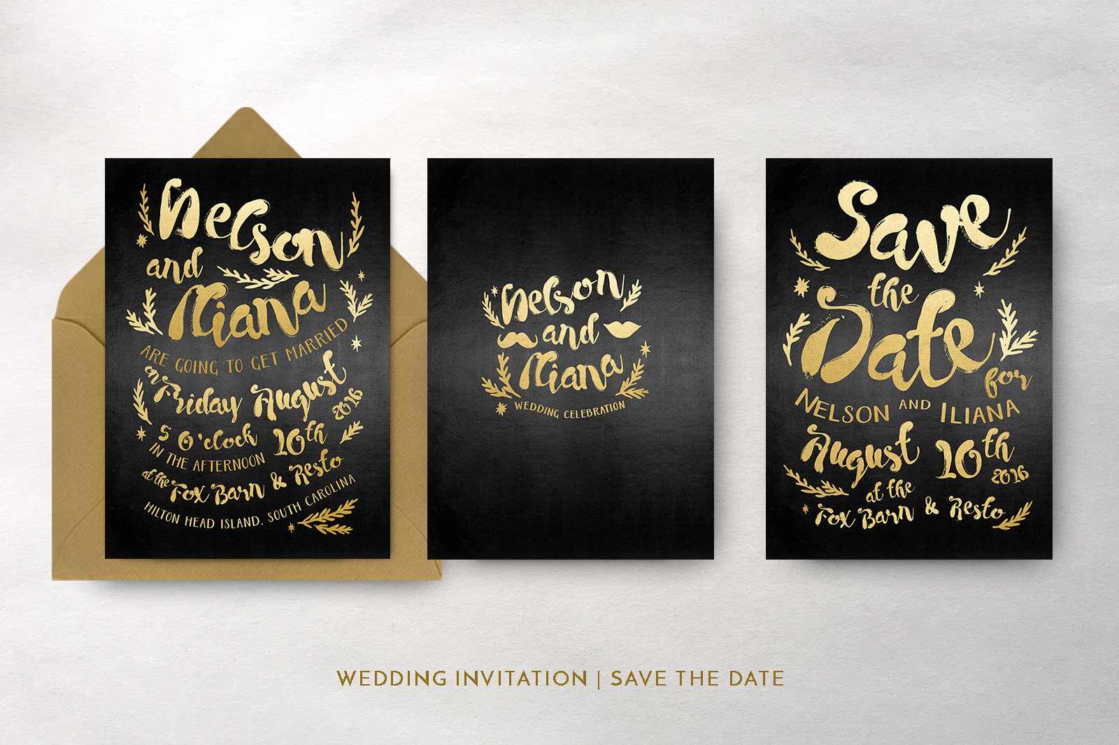 Black & Gold Hipster Wedding Invitation Suite example image 5