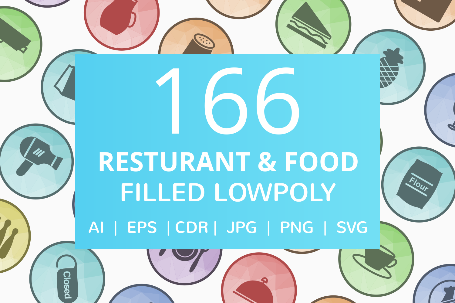 166 Restaurant & Food Filled Low Poly Icons example image 1