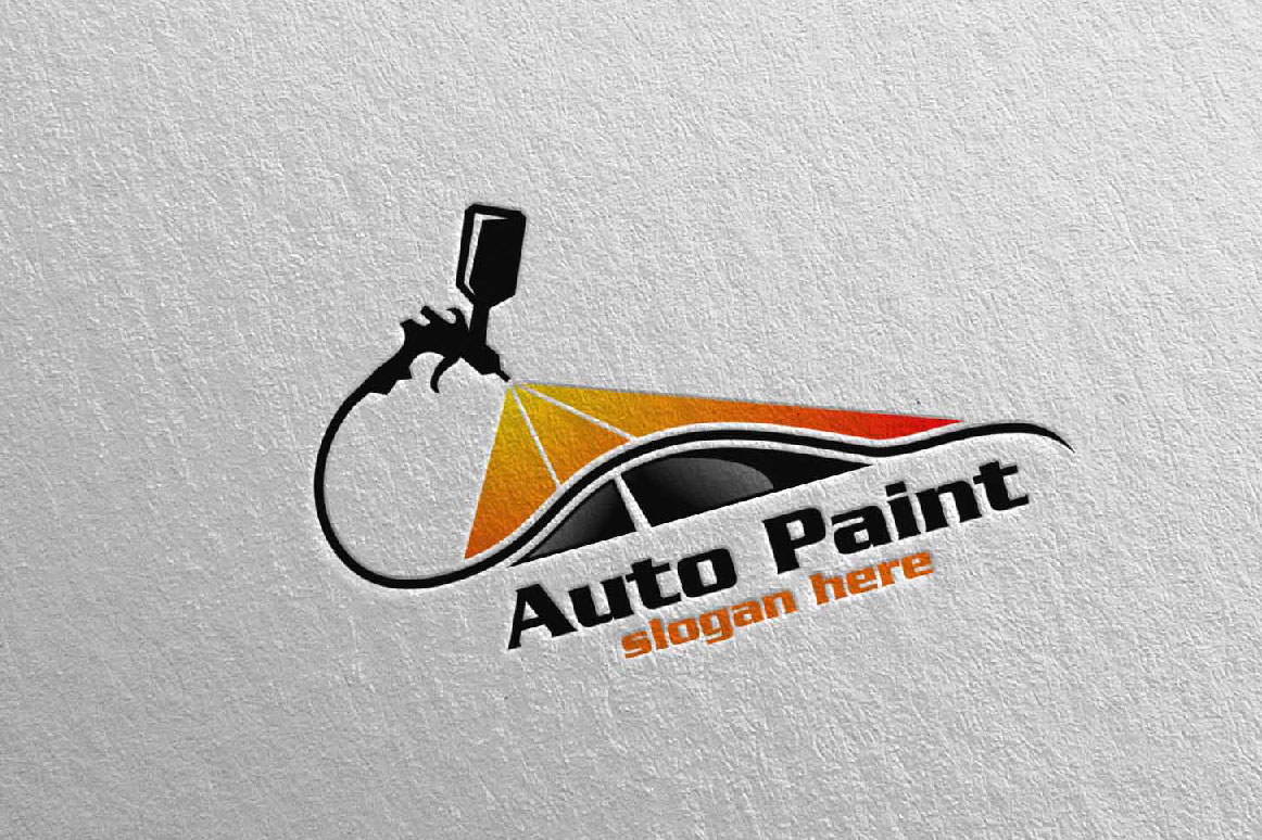 Car Painting Logo with Spray Gun and Sport Car Concept 1
