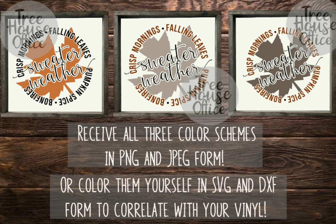 Sweater Weather Fall Leaves Autumn Leaf Pumpkin SVG PNG JPEG example image 3
