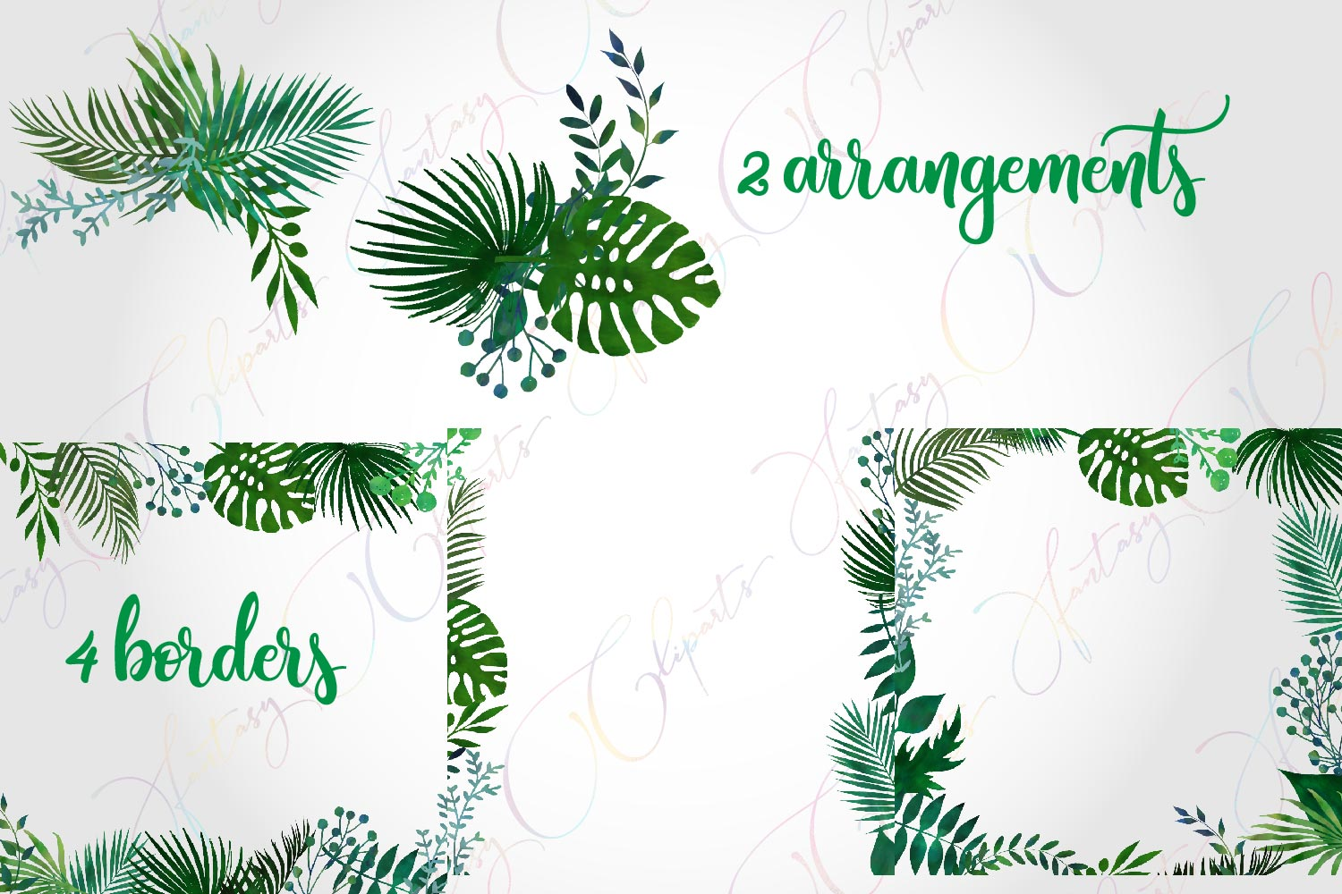 Watercolor Greenery Frames and Borders Clipart example image 3