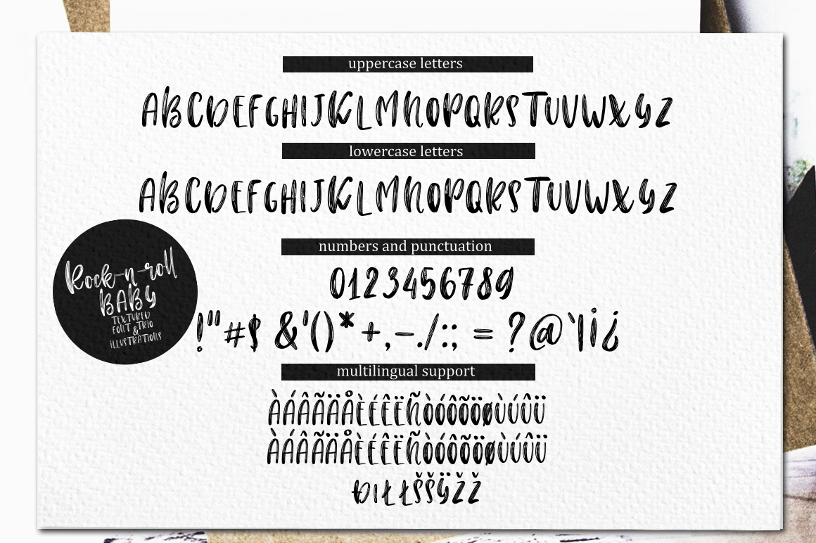 Rock-n-Roll Baby.Textured font trio & doodles example image 17