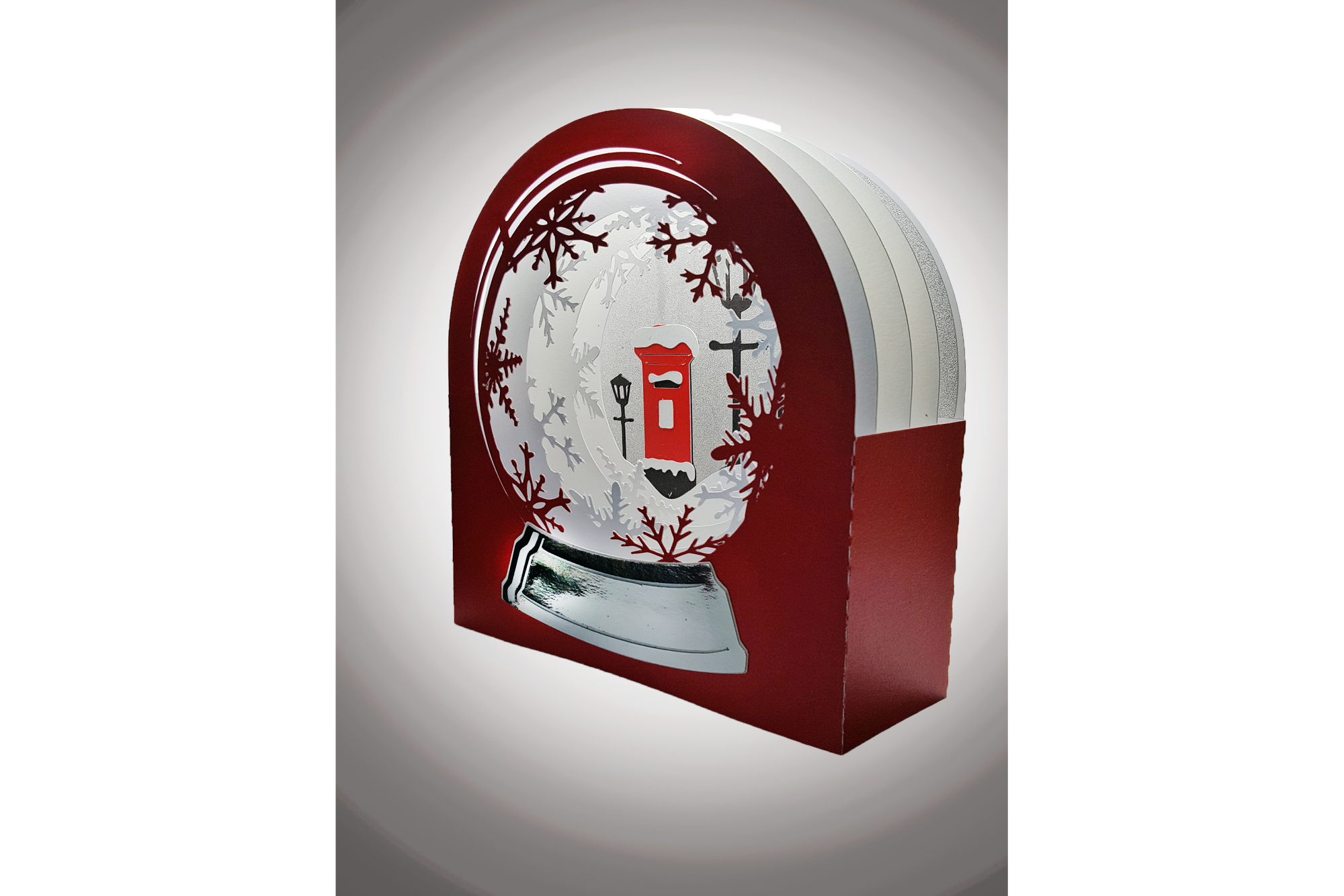 3D Snow Globe Classic Red Letter Box greetings card example image 3